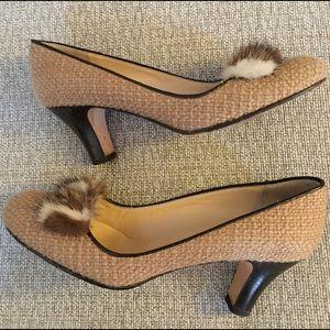 KATE SPADE Gold Tweed Mink Fur CITY Pumps SHOES